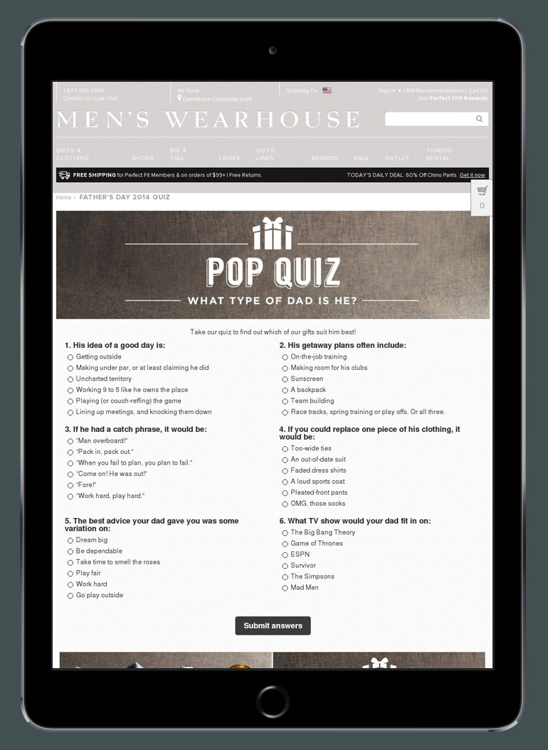 Men's Wearhouse Father's Day Pop Quiz